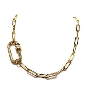 18K Gold Plated Paper Clip Chain Carabiner Clasp